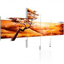 Obraz - Pomarańczowe chmury nad sawanną (100x45 cm)