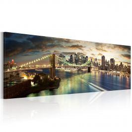 Obraz - The East River at night (120x40 cm)