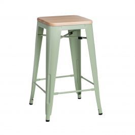 Krzesło barowe Paris Wood D2 sosna naturalna/jasna zieleń