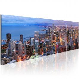 Obraz - Manhattan beach and skyscrapers (120x40 cm)