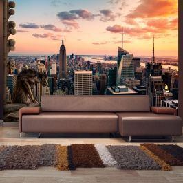 Fototapeta - Nowy Jork: wieżowce i zachód słońca (300x210 cm)