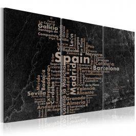 Obraz - Map of Spain on the blackboard - triptich (60x30 cm)