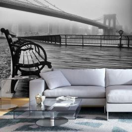 Fototapeta - A Foggy Day on the Brooklyn Bridge (300x210 cm)