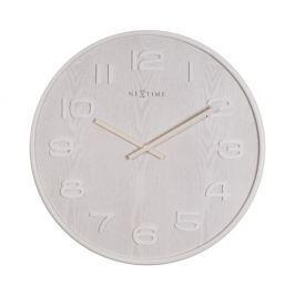 Zegar 35 cm NeXtime Wood Wood Medium biały