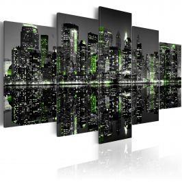 Obraz - Szmaragdowe światełka w wieżowcach Nowego Jorku (100x50 cm)