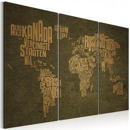 Obraz - Mapa świata, język niemiecki: beżowe kontynenty - tryptyk (60x40 cm)