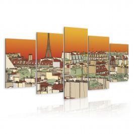 Obraz - Paryskie niebo w kolorze pomarańczy (100x50 cm)