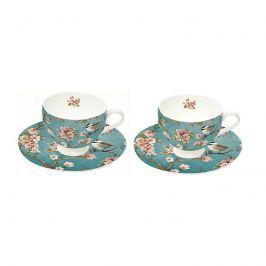 Zestaw filiżanek do espresso 2szt 75ml Nuova R2S Romantic niebieskie w kwiaty