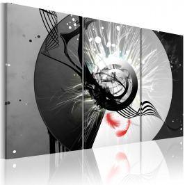 Obraz - Metaliczny krąg i czerwone piórka (60x40 cm)