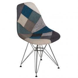 Krzesło P016 DSR Patchwork D2 niebiesko-szare