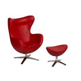 Fotel + podnóżek ekoskóra Jajo D2 czerwony
