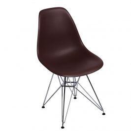 Krzesło chromowane 46x40x81cm D2 P016 PP brązowe