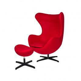 Fotel z podnóżkiem 83x107x72cm King Home Egg czerwień/czarny