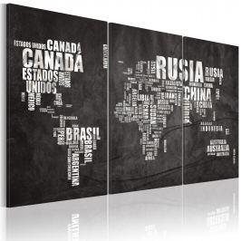 Obraz - Mapa świata (Język hiszpański) - tryptyk (60x40 cm)
