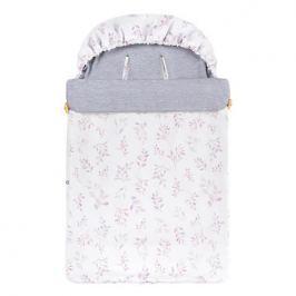 Śpiwór bawełniany wiosenno-letni Samiboo Mini z regulowaną grubością - listki lila z szarym