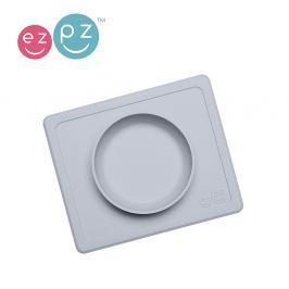 Silikonowa miseczka z podkładką EZPZ 2w1 MIni Bowl - pastelowa szara