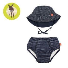 Zestaw plażowy majtki z pieluszką+kapelusz Splash&Fun (UV 50+) - Polka Dots Navy (6mc)