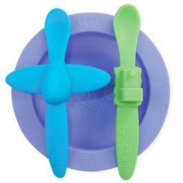 Silikonowy zestaw talerzyk i 2 łyżeczki Oogaa - Purple 2