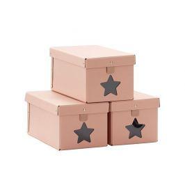 Pudełka  3 szt. Kids Concept-ciemno różowe