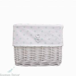 Koszyk wiklinowy mały - gwiazdki - biało - miętowe