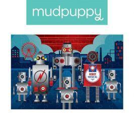 Puzzle z błyszcząca folią Mudpuppy - roboty (100 el.)