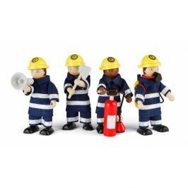 Strażacy - 4 drewniane figurki z akcesoriami
