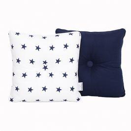 Poduszka dekoracyjna 28x28 - gwiazdki - granatowo-białe