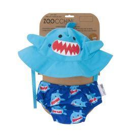 Zestaw plażowy: pieluszka i kapelusz (UPF 50+) - rekin S