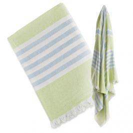Ręcznik turecki wielofunkcyjny (150x100) - zielony z błękitem