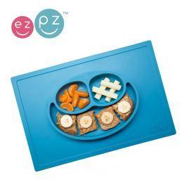 Silikonowy talerz z podkładką EZPZ 2w1 - niebieski