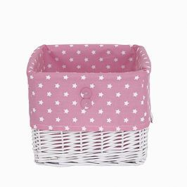Koszyk wiklinowy duży - gwiazdki - różowo - białe