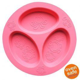 Silikonowy talerzyk trójdzielny Oogaa - Pink Divided Plate Naczynia i sztućce dla dzieci