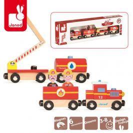 Drewniany pociąg na magnesy Janod - straż pożarna Pozostałe zabawki