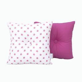 Poduszka dekoracyjna 28x28 - gwiazdki - amarantowo - białe Pościel dla dzieci