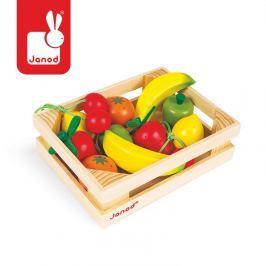 Zestaw drewnianych owoców w skrzyneczce Janod
