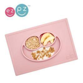 Silikonowy talerz z podkładką EZPZ 2w1 - pastelowy różowy Naczynia i sztućce dla dzieci