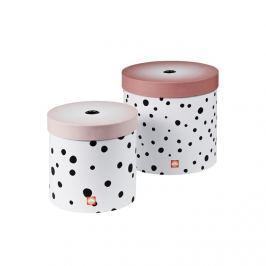 Pudełka okrągłe Dots (2szt.)  - różowe Skrzynie i pojemniki na zabawki