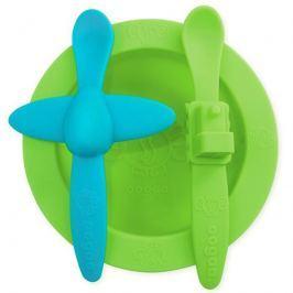 Silikonowy zestaw talerzyk i 2 łyżeczki Oogaa- Green