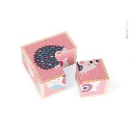 Drewniane klocki-puzzle 6w1 (4 elem.) - zwierzątka Klocki