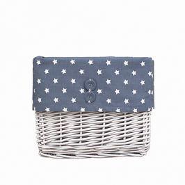 Koszyk wiklinowy mały - gwiazdki - szaro - białe Skrzynie i pojemniki na zabawki