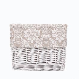 Koszyk wiklinowy mały - ornament - beżowo-biały