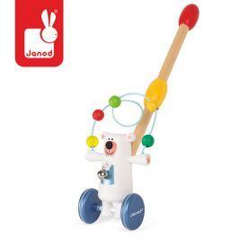 Pchacz - drewniany miś polarny z pętlą edukacyjną Autka i inne pojazdy do zabawy