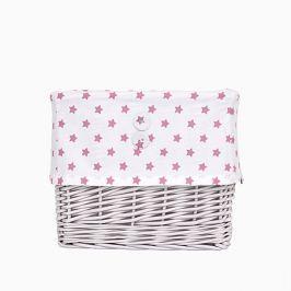 Koszyk wiklinowy mały - gwiazdki - biało-różowe