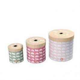 Pudełka okrągłe 3 szt Zoopreme - różowe Skrzynie i pojemniki na zabawki