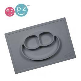Silikonowy talerz z podkładką EZPZ 2w1 - szary