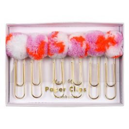 Spinacze ozdobne Meri Meri 6 szt - różowe pompony