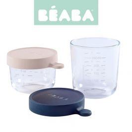 Zestaw słoiczków szklanych z hermertycznym zamknięciem Beaba (150 ml +250ml) - pink +blue