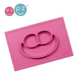 Silikonowy talerz z podkładką EZPZ 2w1 - różowy
