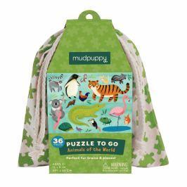 Puzzle podróżne w woreczku Mudpuppy - zwierzęta świata (36 elem.)