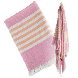Ręcznik turecki wielofunkcyjny (150x100) - różowy z pomarańczowym